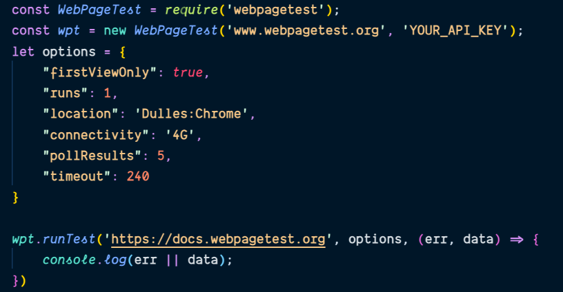 Screenshot of sample code from the Node.JS wrapper