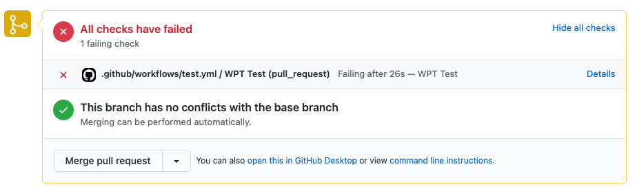 Screenshot of GitHub showing a WebPageTest action failing due to a blown performance budget